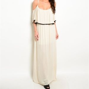 Dresses & Skirts - B2G1 Cream and Black Lace Boho Flowy Maxi Dress